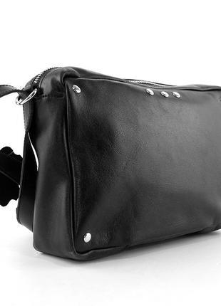 Кожаная маленькая сумка кроссбоди через плечо черная на молнии