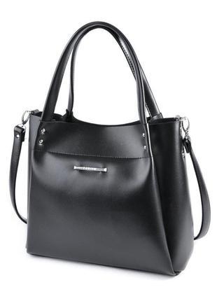 Деловая черная сумка шоппер на плечо