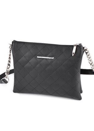 Черная сумка-клатч на молнии с длинным ремнем через плечо