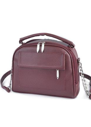 Бордовая маленькая сумка портфельчик с ручкой и ремнем через п...