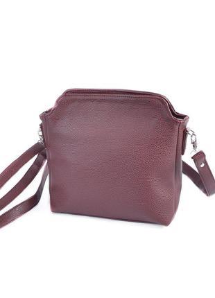 Бордовая маленькая сумка через плечо оригинальная кросс боди