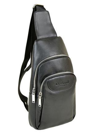 Сумка-рюкзак мужская на одно плечо черная слинг из кожзама