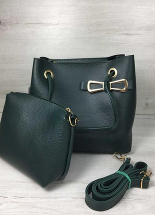 Зеленая оригинальная сумка с ручками на плечо и косметичкой