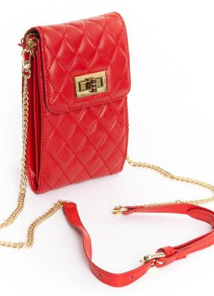 Красная маленькая сумка клатч вертикальная на цепочке кожаная