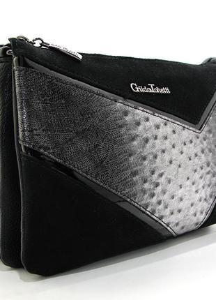 Черная маленькая сумка клатч замшевая кросс боди через плечо
