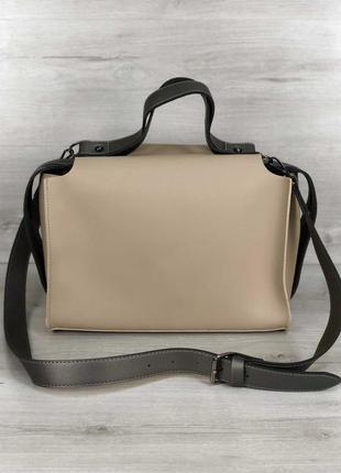 Молодежная бежевая сумка с косметичкой и ремнем через плечо ле...