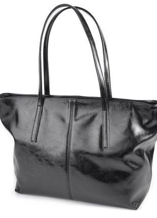 Черная сумка корзина м226 шоппер с длинными ручками