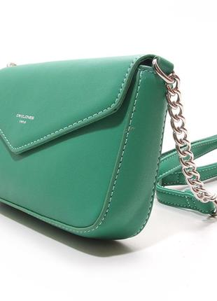 Зеленая маленькая сумка-клатч через плечо кросс боди