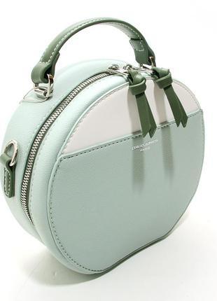 Зеленая мятная сумка круглая через плечо кросс боди маленькая