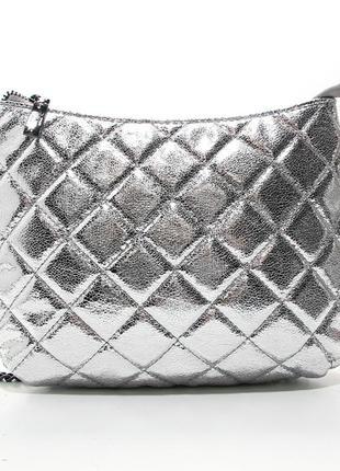 Серебристая сумка кросс-боди молодежная через плечо