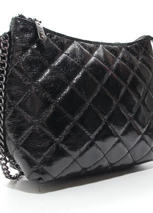 Черная сумка valensiy блестящая кросс боди через плечо