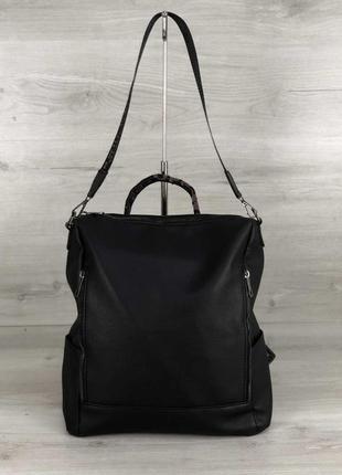 Сумка-рюкзак молодежная женская черная трасформер на плечо