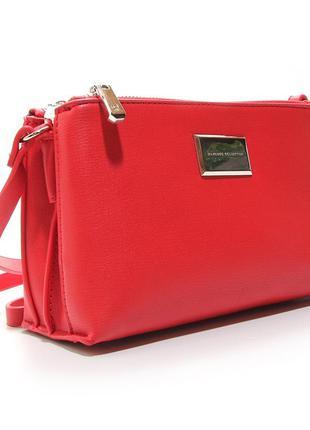 Маленькая красная сумка через плечо кросс боди два отдела