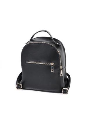 Маленький молодежный рюкзак мини на молнии черный городской