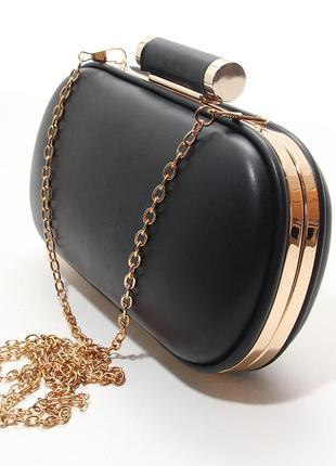 Черный вечерний клатч-бокс на цепочке выпускная сумочка
