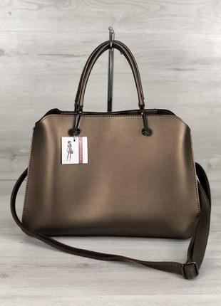 Бронзовая деловая сумка оригинальная молодежная с ремешком чер...