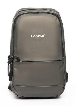 Серый мужской рюкзак на одно плечо слинг банан текстильный
