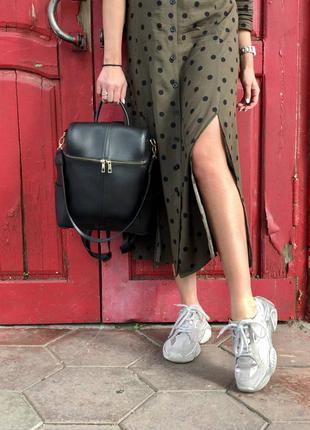 Черная сумка рюкзак трансформер молодежная городская через плечо