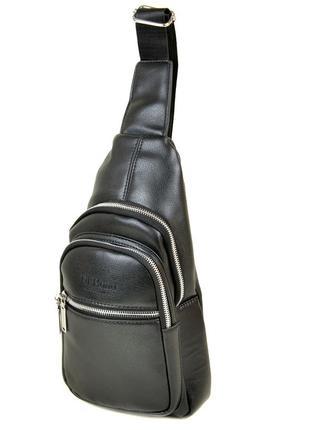 Мужской рюкзак слинг на одно плечо черный два отделения