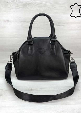 Кожаная женская сумка через плечо с ручками черная деловая три...