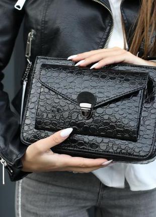 Молодежная сумка-клатч деловая лаковая черная кросс-боди через...