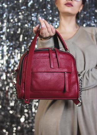 Красная кожаная сумка через плечо маленькая молодежная кроссбоди