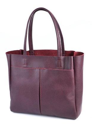 Бордовая деловая сумка на плечо натуральная кожа