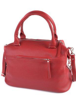 Красная сумка саквояж деловая вместительная натуральная кожа