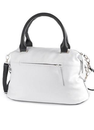 Белая сумка саквояж кожаная деловая большая с длинным ремешком