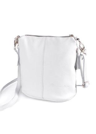 Белая кожаная сумка через плечо на молнии кросс-боди молодежная