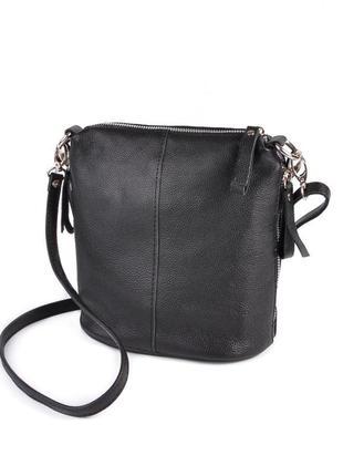 Черная кожаная сумка через плечо на молнии кроссбоди натуральн...