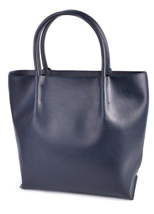 Синяя сумка шоппер с ручками на плечо