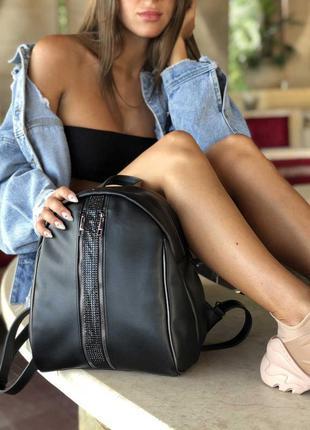 Молодежный рюкзак черный овальный маленький городской на плечо