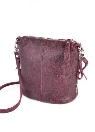 Бордовая кожаная сумка через плечо кросс-боди на молнии
