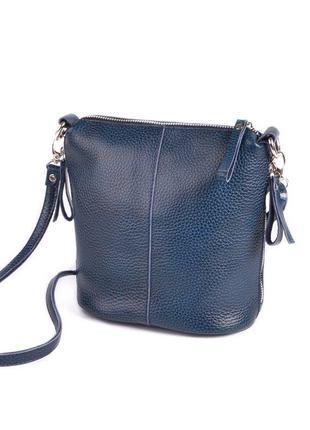 Кожаная синяя сумка через плечо