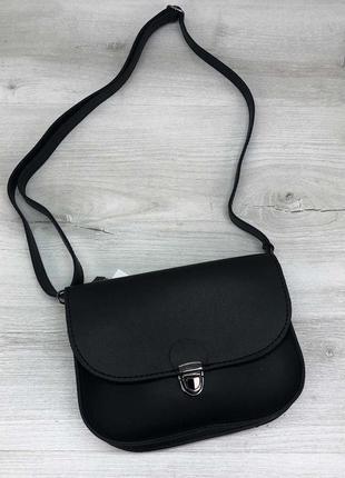 Черная сумка на пояс молодежная через плечо маленькая на защел...