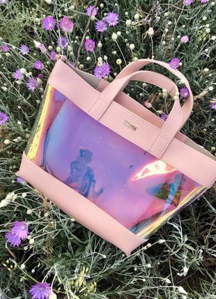 Силиконовая сумка с клатчем перламутровая с розовой основой че...