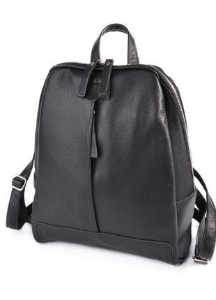 Черный молодежный рюкзак из натуральной кожи