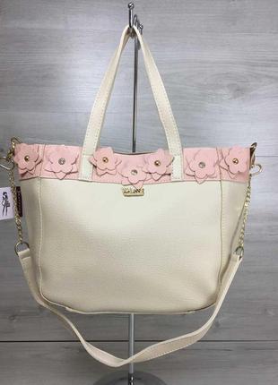Бежевая сумка корзина шоппер через плечо с цветами