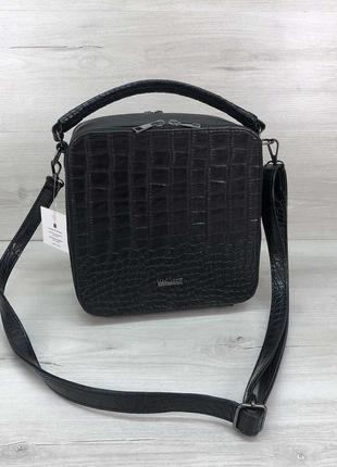 Черная квадратная сумка через плечо кросс-боди под крокодила