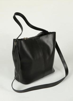Черная кожаная молодежная сумка через плечо из натуральной кожи