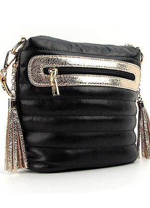 Черная маленькая сумочка через плечо кроссбоди золотистые вставки