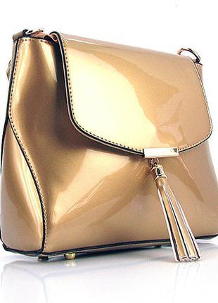 Золотистая маленькая лаковая сумка через плечо кросс-боди