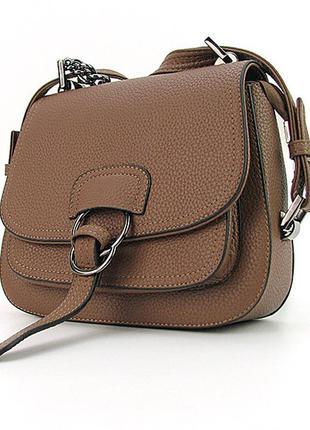Коричневая женская сумочка на плечо маленькая кроссбоди