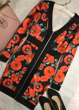 Платье в цветы на молнии  размер 10