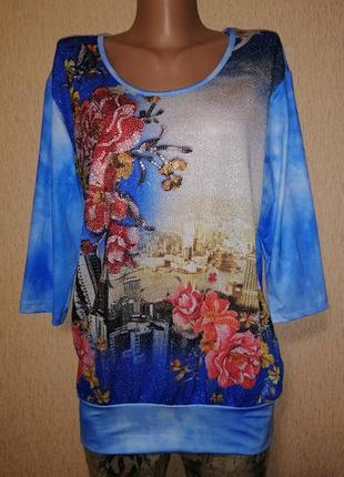 🔥🔥🔥новая футболка, блузка, кофта батального размера со стразам...