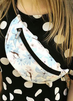 Бананка с цветочками, поясная сумка с цветами, сумка на пояс