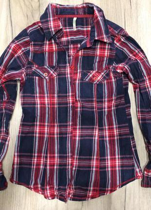 Женская красная рубашка в клетку denim co