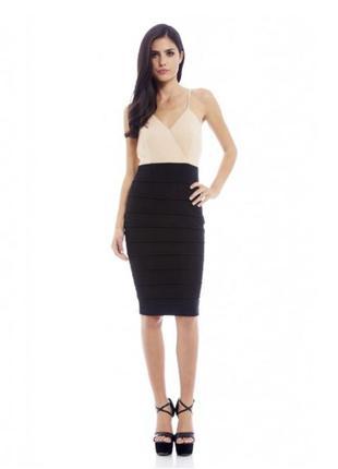 Платье черное с бежевым, под бандаж