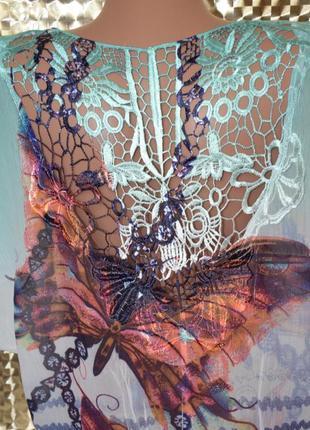 Красивая шифоновая кофточка, блузочка с ажурной спиной